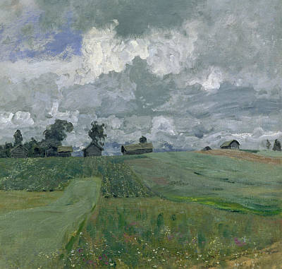 Field Grey Painting - Stormy Day by Isaak Ilyich Levitan