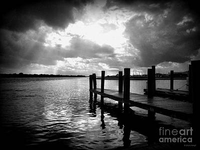 Photograph - Stormy Docks - Black And White by Shelia Kempf