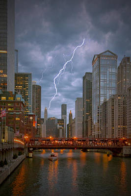 Stormy Dusk On The Chicago River Art Print by Ed Roth