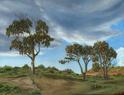 Lanscape Painting - Stormy Eucalyptus by Angeles M Pomata