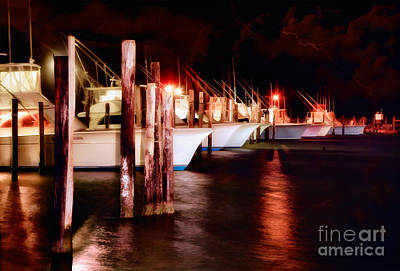 Stormy Night In The Marina - Outer Banks Art Print