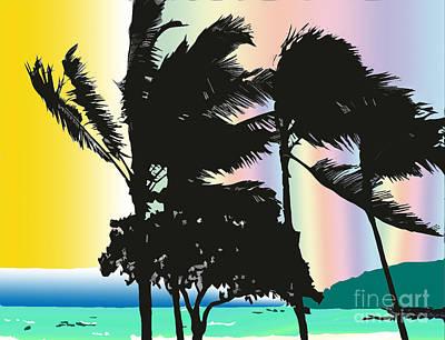 Art Print featuring the digital art Stormy Palms by Karen Nicholson
