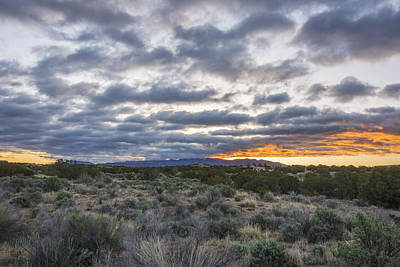 Photograph - Stormy Santa Fe Mountains Sunrise - Santa Fe New Mexico by Brian Harig