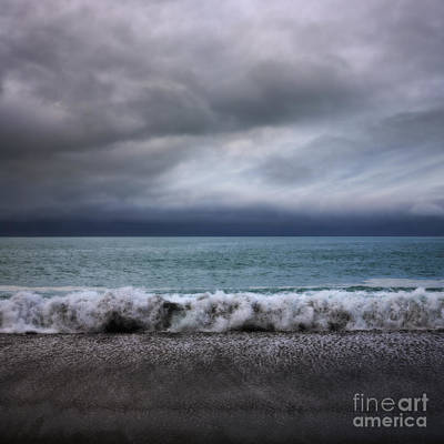 Stormy Sea And Sky Square Art Print