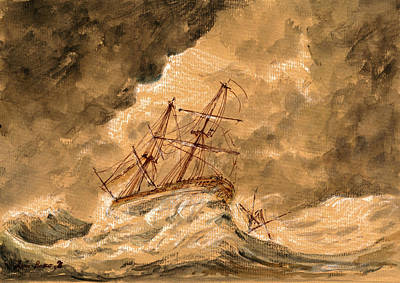 Stormy Sea  Art Print by Juan  Bosco