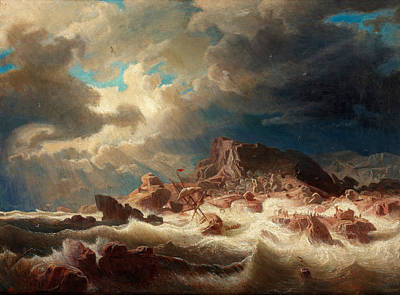 Windy Hill Painting - Stormy Sea With Ship Wreck by Marcus Larson