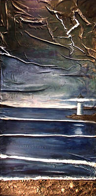 Seascape Mixed Media - Stormy Seas With Lighthouse by Angela Stout