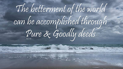 Positive Attitude Photograph - Stormy See Bahai Quote by Rudy Umans