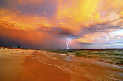 Stormy Skies - Lightning Storm In Esperance Art Print by Sally Nevin