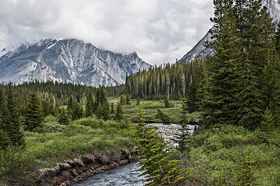 Using The River Photograph - Stormy Skies Over Mountain, Kananaskis by Ron Harris