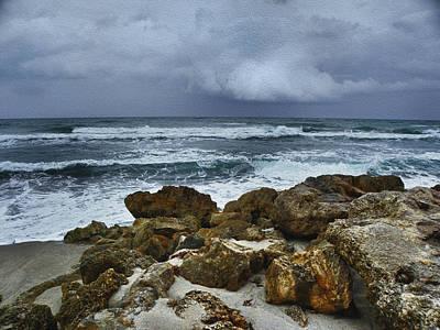 Winter Storm Digital Art - Stormy Sky And Ocean Waves by Julie Palencia