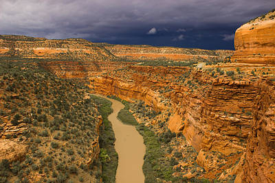 Kim Baker Photograph - Stormy Sky Red Canyon by Kim Baker