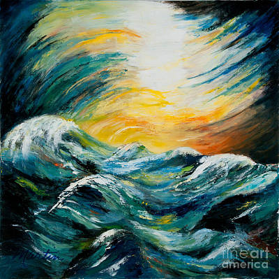 Moody Painting - Stormy-stormy Sea by Larry Martin