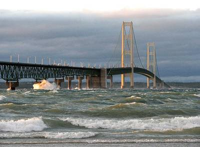 Stormy Straits Of Mackinac Art Print by Keith Stokes