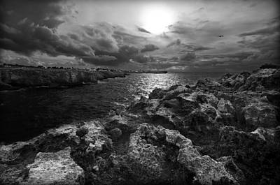 Blank And White Stormy Mediterranean Sunrise In Contrast With Black Rocks And Cliffs In Menorca  Art Print by Pedro Cardona