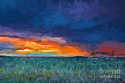 Painting - Stormy Sunset Lv by Charles Muhle