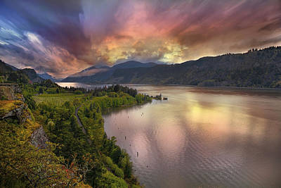 Farmland Photograph - Stormy Sunset Over Columbia River Gorge At Hood River by David Gn