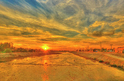 Stormy Sunset Over Santa Ana River Art Print by Angela A Stanton