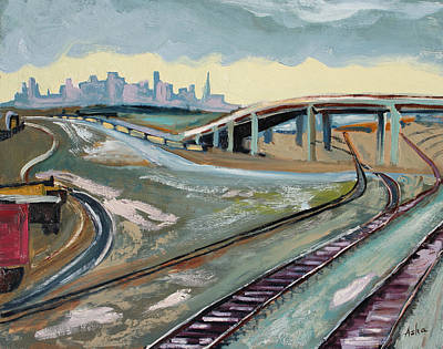 Art Print featuring the painting Stormy Train Tracks And San Francisco  by Asha Carolyn Young