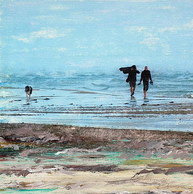 Stormy Walk At Grenen Square Art Print by Cecilia Uneland