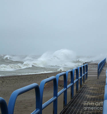 Michigan Port Sanilac Photograph - Stormy Waves by Kathy DesJardins