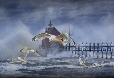 Stormy Weather At The Grand Haven Lighthouse Print by Randall Nyhof