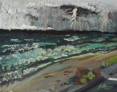 La Jolla Art Painting - Stormy Weather by Joseph Demaree