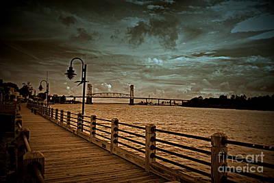 Stormy Wilmington Riverwalk  Art Print
