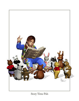 Digital Art - Story Time Pals by Rainer Freytag