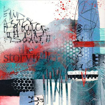 White And Blue Mixed Media - Storyteller Drama by Laura  Lein-Svencner