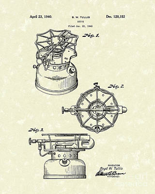 Single Drawing - Stove 1940 Patent Art by Prior Art Design