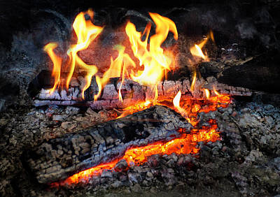 Photograph - Stove - The Yule Log  by Mike Savad