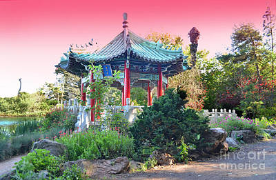 Stow Lake Pagoda In Golden Gate Park In San Francisco Art Print by Jim Fitzpatrick