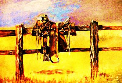 Westerns Painting - Straddled Saddle by Al Brown
