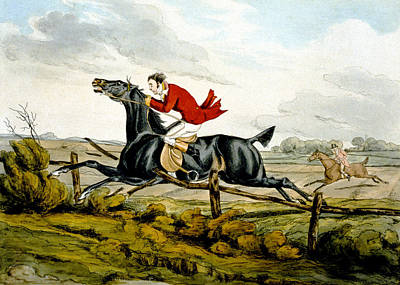 Straight Through The Fence From Qualified Horses And Unqualified Riders Art Print by Henry Thomas Alken