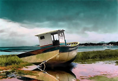 Ashore Painting - Stranded Boat On Shore As Storm Gathers by Elaine Plesser