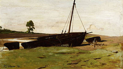 Frederick Painting - Stranded Boats Porlock Weir by Frederick George Cotman