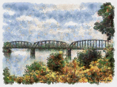 Vegetation Drawing - Strang Bridge by Jeffrey Kolker