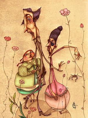 Strange Family Print by Autogiro Illustration