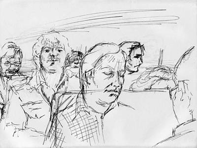 Judaica Drawing - Strangers On A Train by Phil Welsher