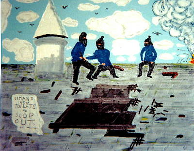 Painting Royalty Free Images - Strangeways Prison riots UK.1990s Royalty-Free Image by George Vernon