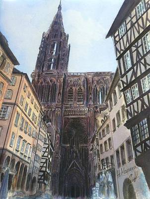 Notre Dame Cathedral Painting - Strasbourg Cathedral by Henrieta Maneva