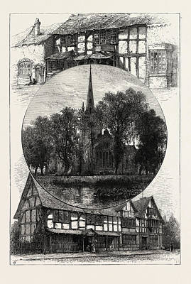 Stratford Drawing - Stratford Church, And Shakespeares House by English School