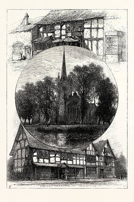 Stratford Drawing - Stratford Church, And Shakespeares House,  Stratford by English School