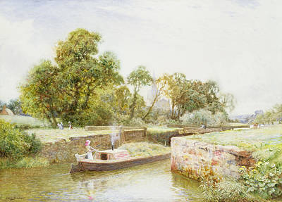 Reflecting Water Painting - Stratford Lock by Arthur Claude Strachan