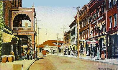 Painting - Stratton Theatre And Train Station In Middletown N Y In 1910 by Dwight Goss