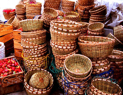 Straw Baskets Art Print