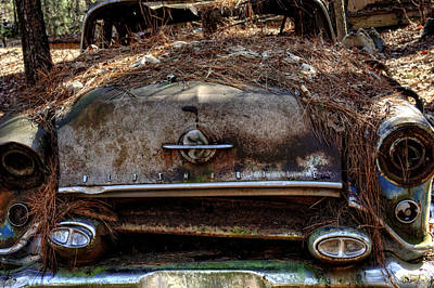 Pine Needles Photograph - Straw Coverd Oldsmobile by Greg Mimbs