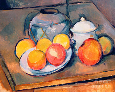 Floral Still Life Painting - Straw Covered Vase Sugar Bowl And Apples by Paul Cezanne