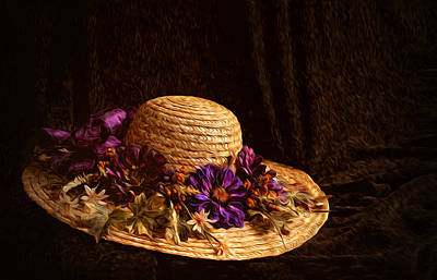 Photograph - Straw Hat And Flowers by Ivelina G
